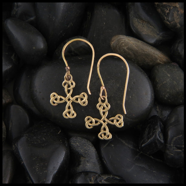 Equal Arm Cross Earrings in Gold
