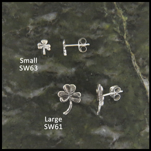 Shamrock Single Post Earring Sterling Silver (Half Pair)