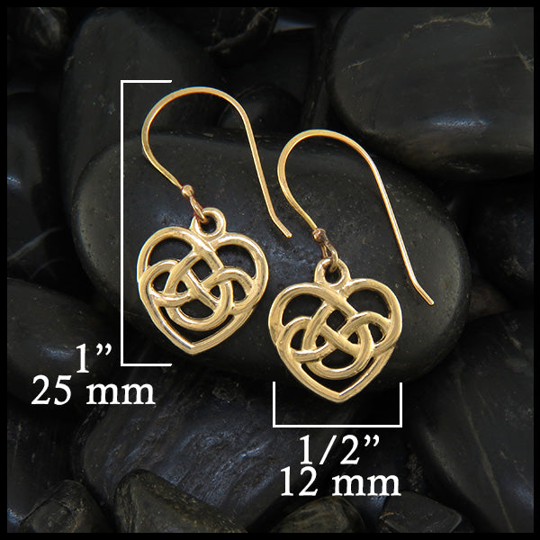 Celtic heart knot earrings