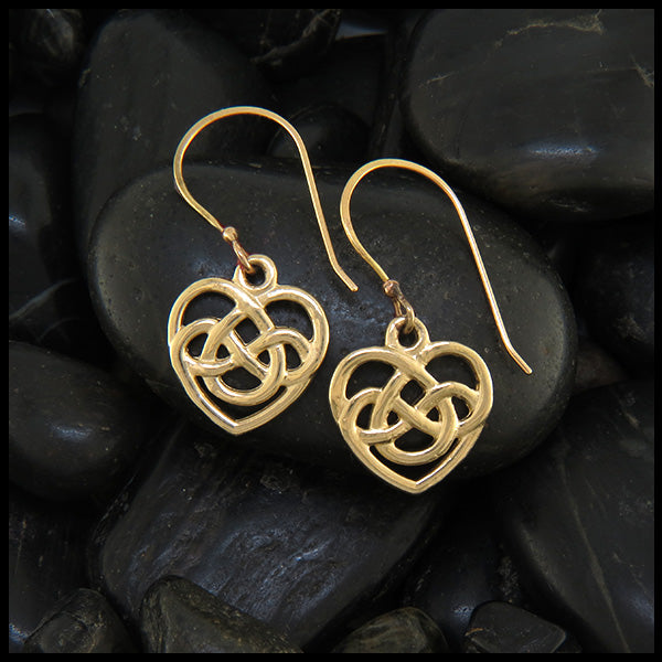 gold robins heart earrings