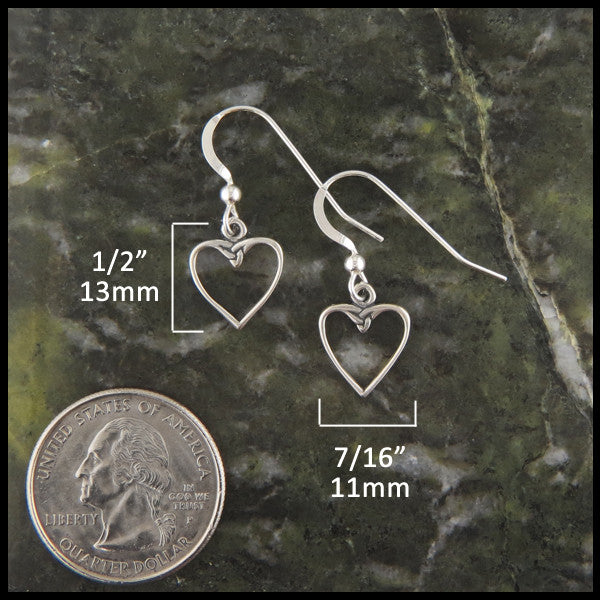 Dainty heart drop earrings in Sterling Silver