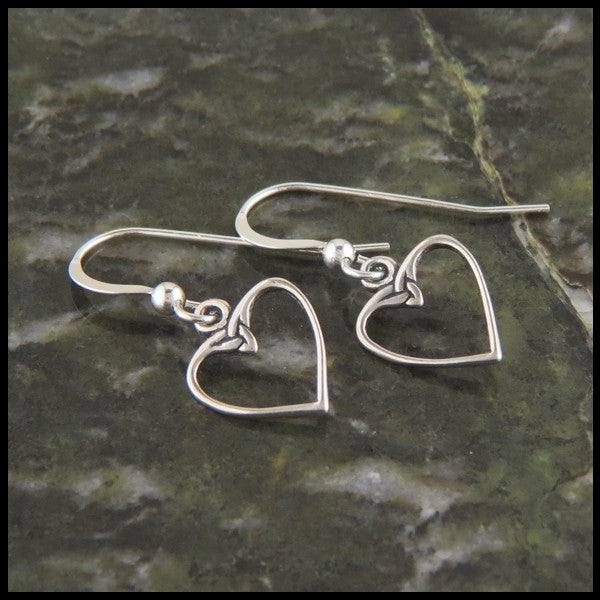 Celtic Heart Knot Earrings in Sterling Silver