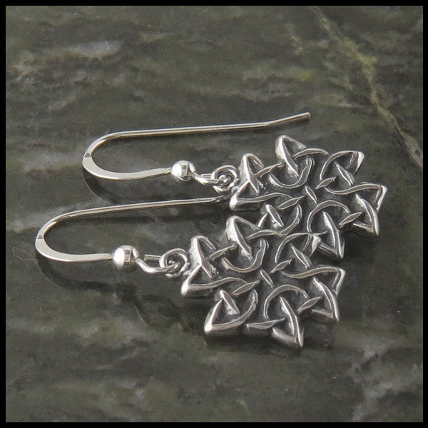 Celtic Knot Cross drop earrings in Sterling Silver