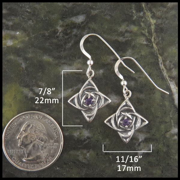 Celtic Star Knot drop earrings in Sterling Silver