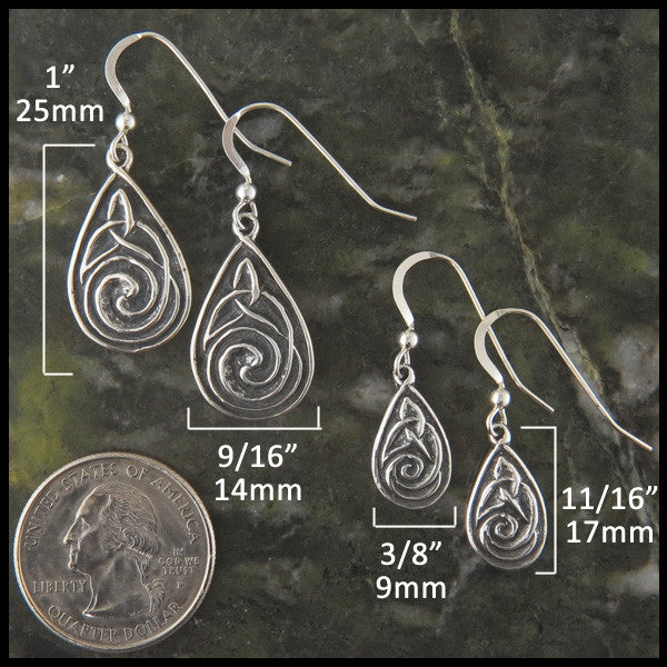 Celtic Earrings in Sterling Silver inspired by Irish & Scottish heritage.