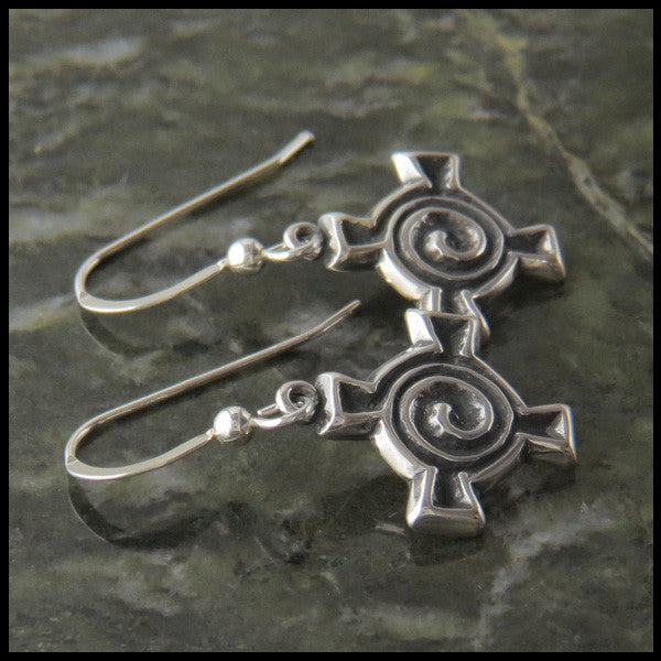 Spiral Cross earrings in Sterling Silver