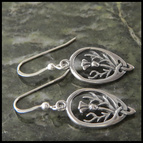 Thistle drop earrings in Sterling Silver
