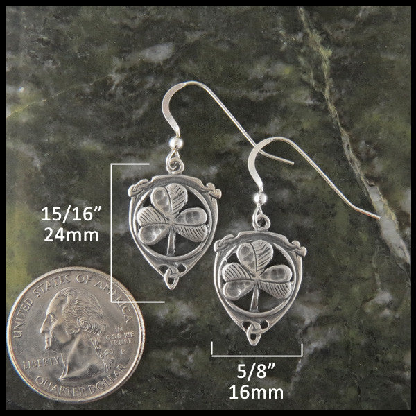 Triquetra and Shamrock Drop earrings in Sterling Silver
