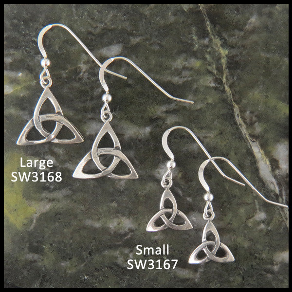Sterling Silver drop or post triquetra earrings