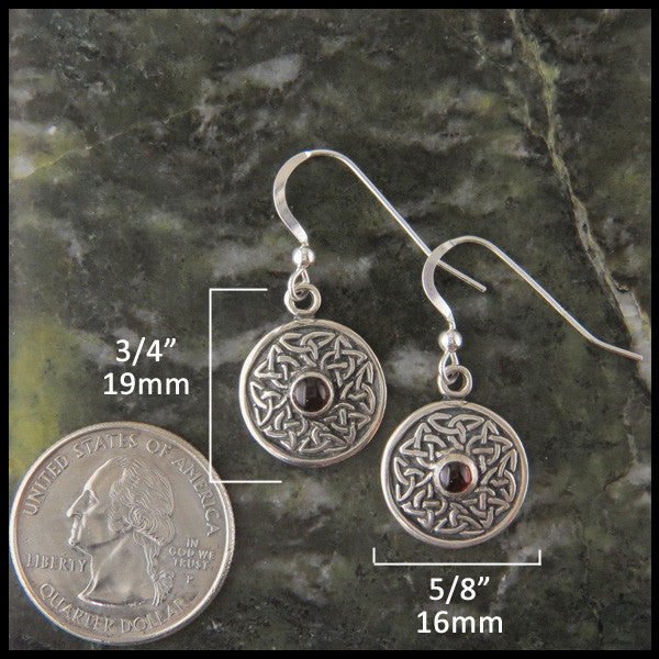 Celtic Drop Wheel of Life earrings with Amethyst, Garnet, Marble