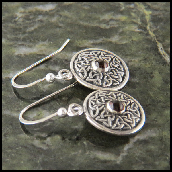 Wheel of life Pendant and Earring Set in Sterling Silver with Amethyst, Garnet or Marble