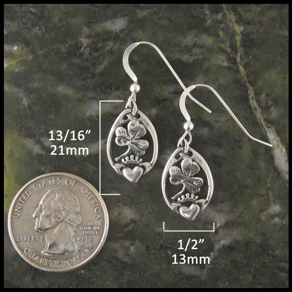 Irish Claddagh and Shamrock Drop Earrings in Sterling Silver
