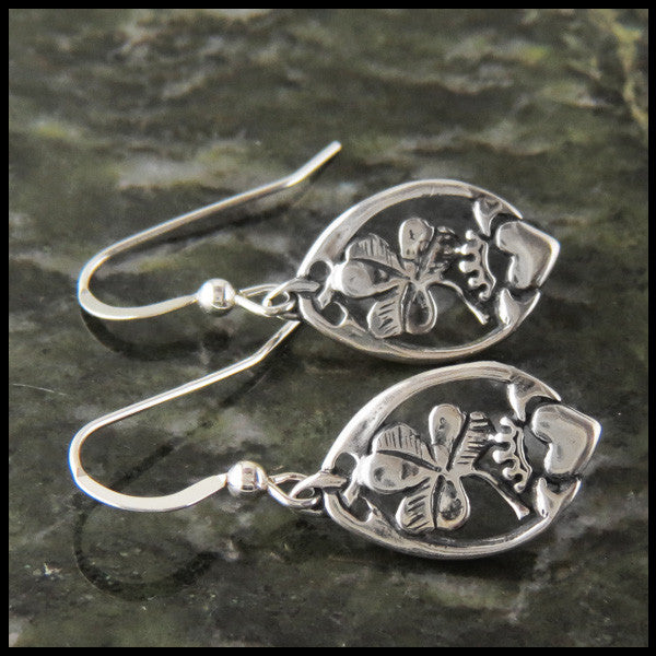 Claddagh and Shamrock Drop Earrings in Silver