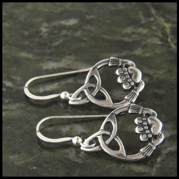 Trinity Claddagh Earrings in Sterling Silver