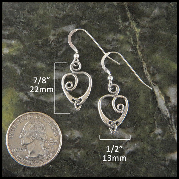 Celtic Heart and Triquetra Pendant and Earring Set in Sterling Silver