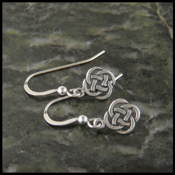 Dainty Josephine's Knot, Lover's Knot, Celtic Earrings in Sterling Silver