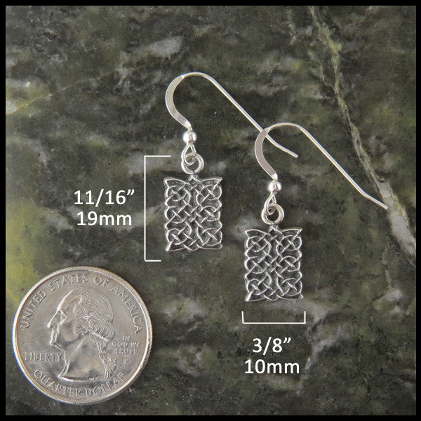 Unique Celtic Knot Drop earrings in Silver