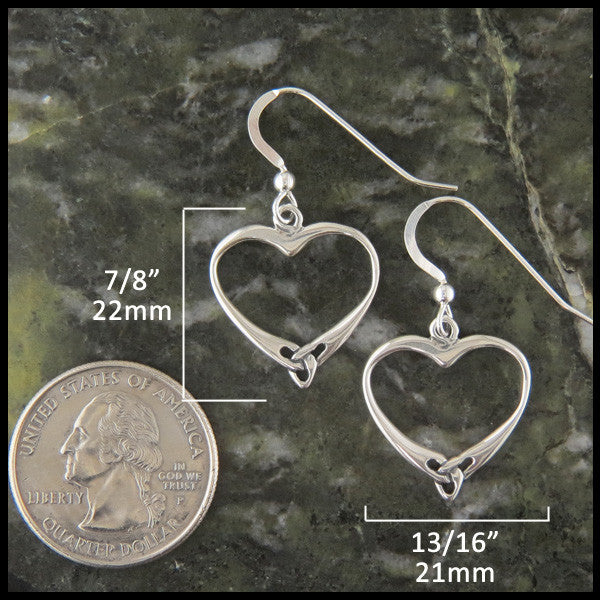 Celtic Triquetra Heart Earrings in Sterling Silver