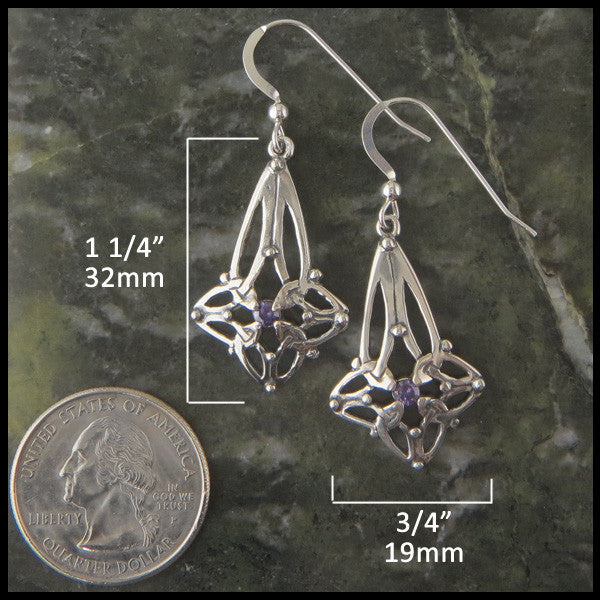 Trinity Star Celtic Knot drop earrings in Sterling Silver with Birthstones
