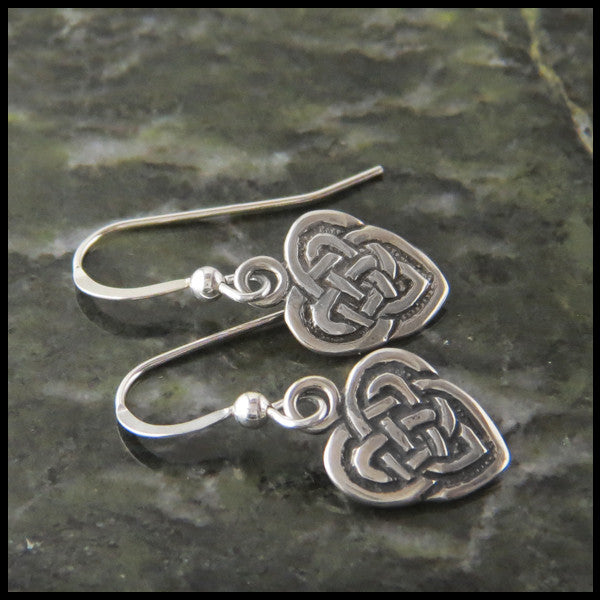 Small Celtic knot heart drop or post earrings in Sterling Silver