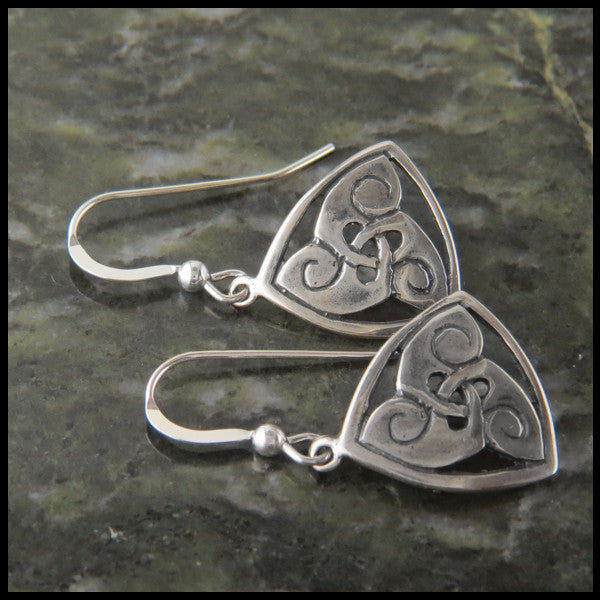 Triskele Drop earrings in Sterling Silver
