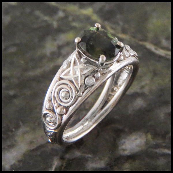 Green Sapphire White Gold Celtic Knot Custom Ring