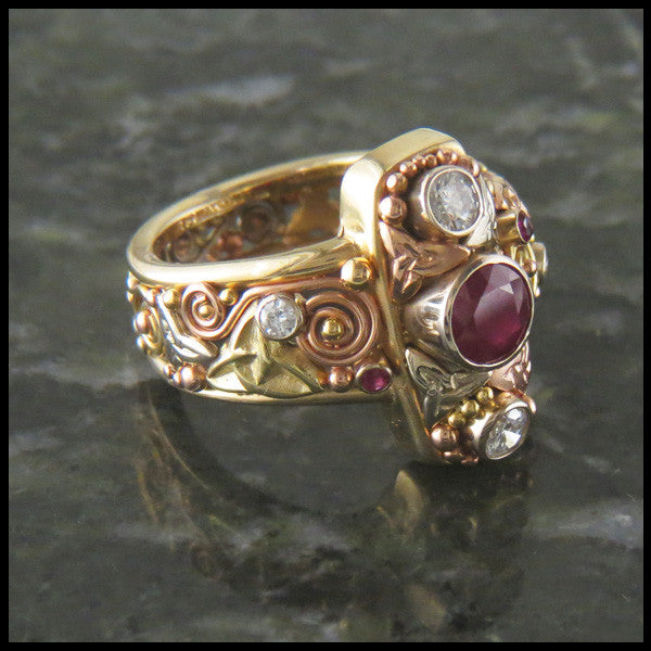 Ruby and Diamond Celtic Knot Statement Ring