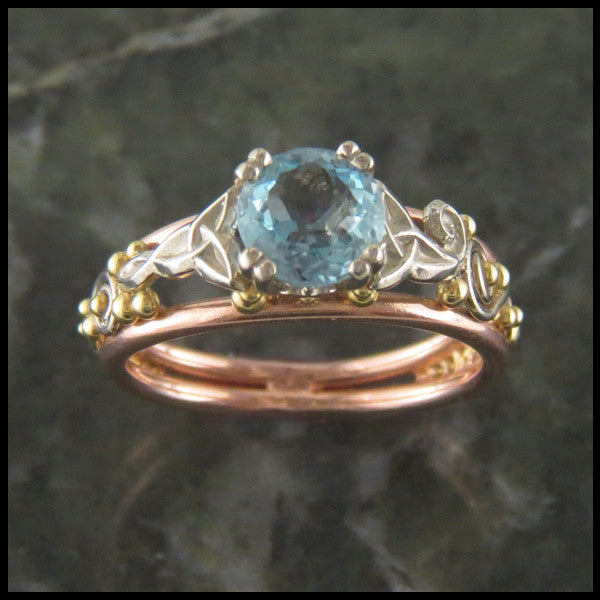 Custom Cathedral Celtic Knot Aquamarine Ring