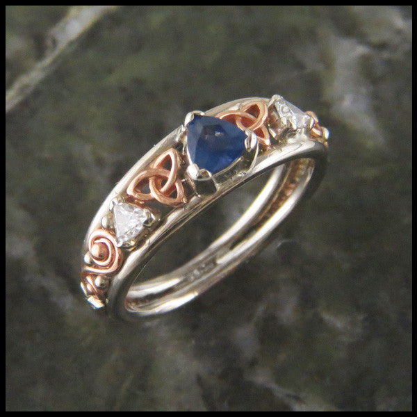 Trilliant Sapphire and Diamond Triquetra Custom Celtic Ring