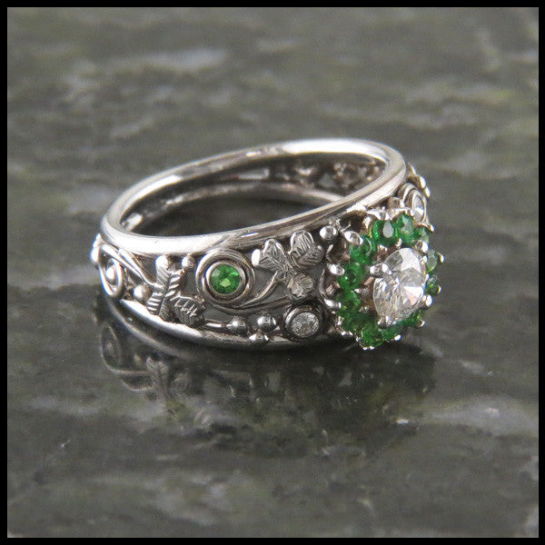 Tsavorite Garnet Halo and Shamrock Custom Celtic Ring