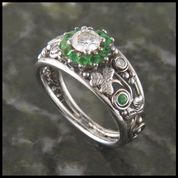Shamrock Engagement Ring with Diamond and Green Gems