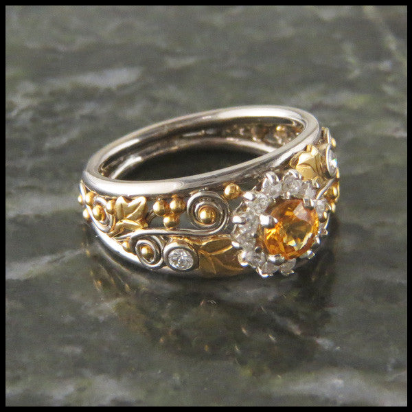 Daisy Yellow Sapphire and Diamond Halo Ivy Custom Ring