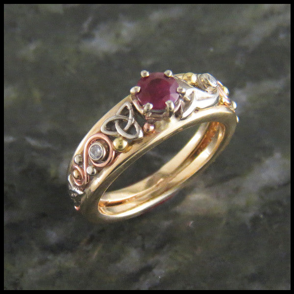 Trinity Knot Ruby Celtic Ring