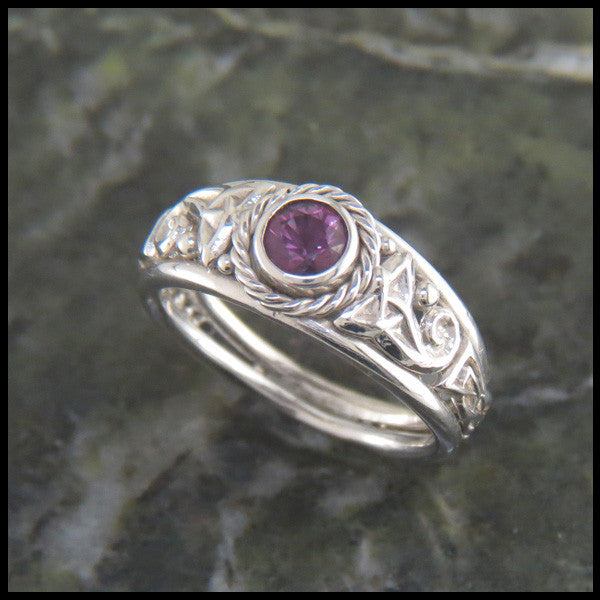 White Gold Custom Celtic Knot Sapphire Ring
