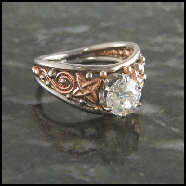 Celtic Knot Rose and White Gold Diamond Engagement Ring