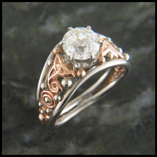 Custom Old European Cut Diamond Celtic Engagement Ring in TwoTone