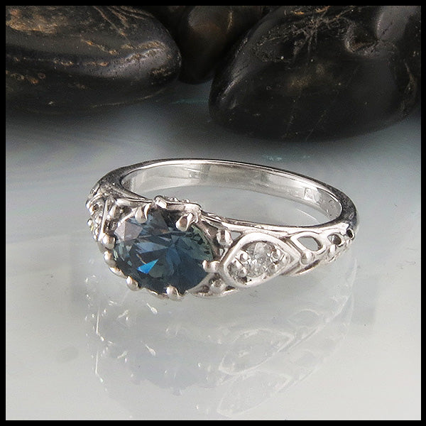 Blue Green Oval Sapphire in White Gold