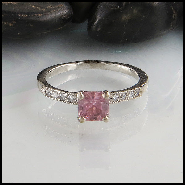 Pink Sapphire Ring with Diamond Band