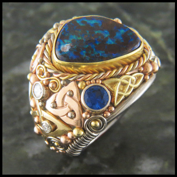 Boulder Opal Custom Celtic Ring Walker Metalsmiths