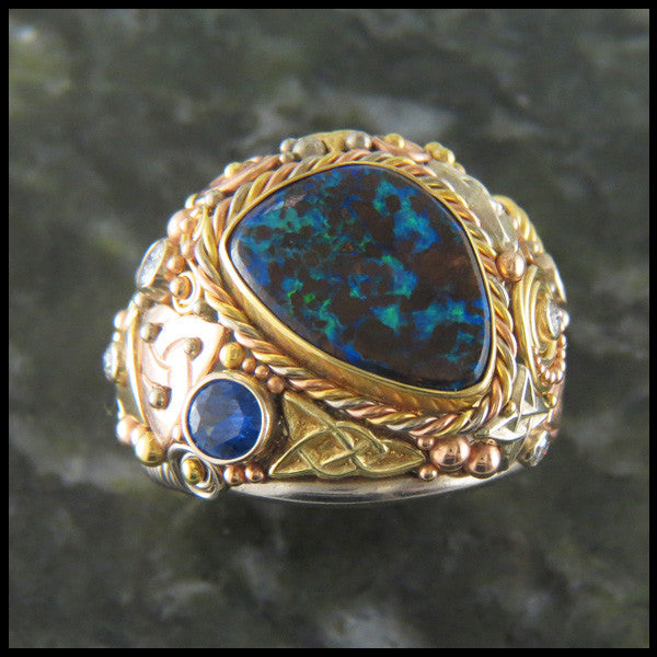 Custom Boulder Opal Celtic Cocktail Ring