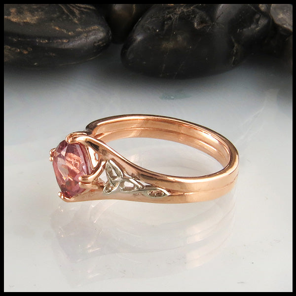 Rose and White Gold Ring with Malaya Garnet