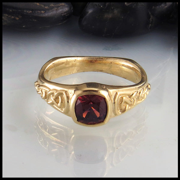 Custom Rhodolite Garnet Ring in Yellow Gold