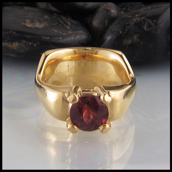 Rhodolite Garnet Ring in Yellow Gold