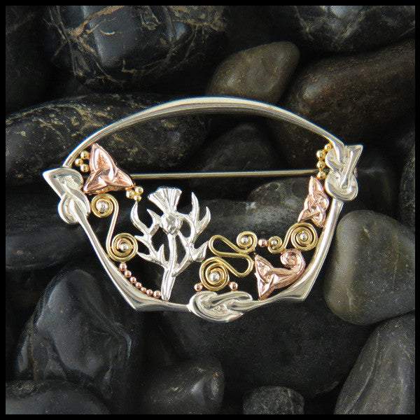 Sterling Silver and Gold Scottish Thistle Brooch