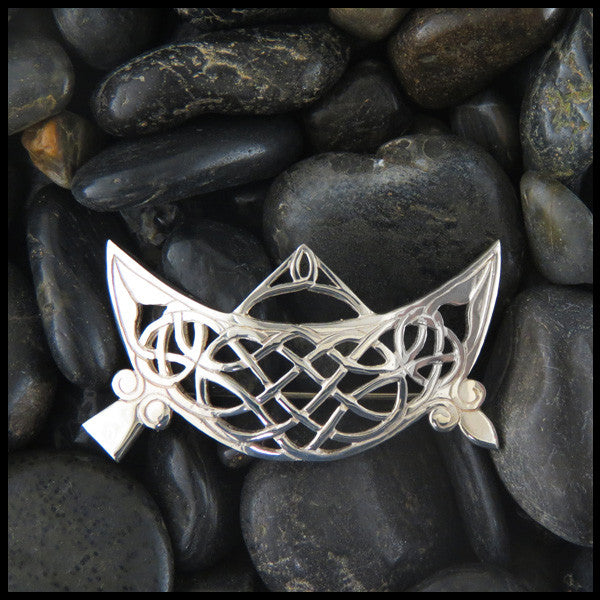 Pictish Brooch featuring Crescent and V-Rod Brooch in Sterling Silver.