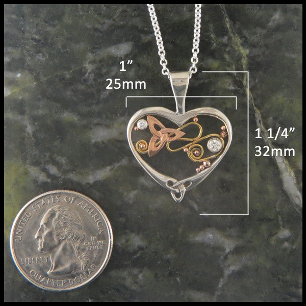 Gold and Silver Heart pendant with Diamonds