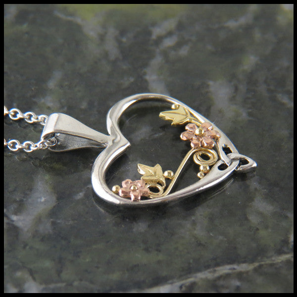 Sterling Silver and Gold pendant and earring set with Ivy and Flowers