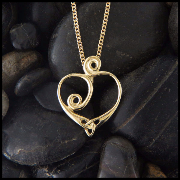 Celtic spiral heart pendant in 14K Gold handcrafted by Walker Metalsmiths