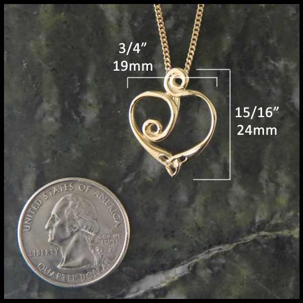 Celtic spiral heart pendant in 14K Gold handcrafted custom designed by Walker Metalsmiths