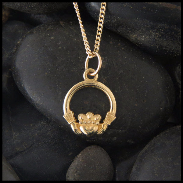 Irish Claddagh Pendant Necklace in 14K Gold designed by Walker Metalsmiths